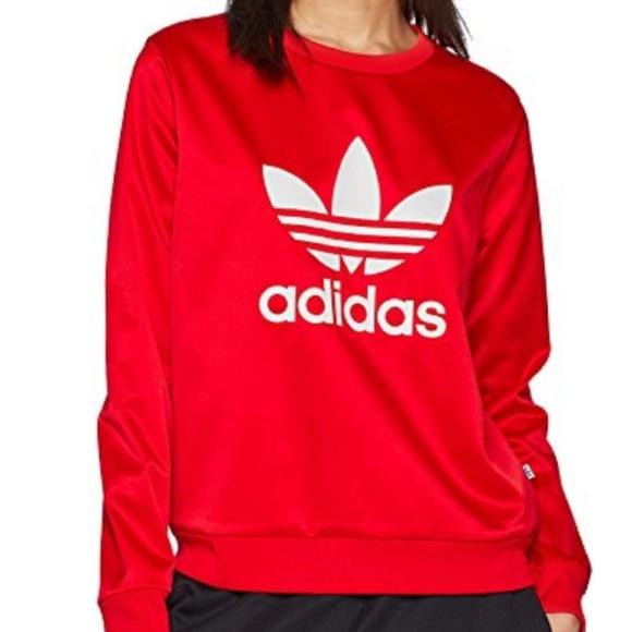 19189601b04 adidas Tops   Nwt Trf Crew Sweatshirt Vivid Red   Poshmark